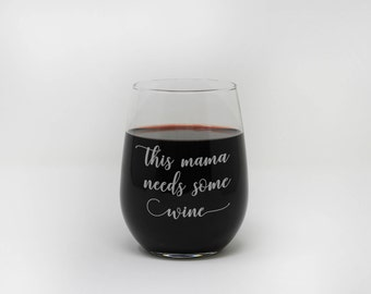 Mama, Stemless Wine Glass, Mother's Day, Custom Engraved, Personalized Gift, Gift for Mom, Mothers Day, Engraved Glass --27389-SWG1-028