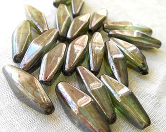 10 24 x 9mm Czech Rustic Lumi Green iridescent long lantern tube beads, Czech glass beads C0901
