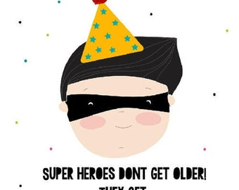 Super hero- B-day card-