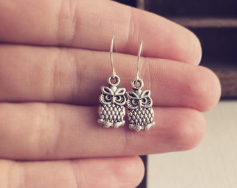 Silver Owl Earrings / Simple Tiny Everyday Pair Bridesmaids Gifts on a Budget Owl Lover Gift for Girls Teens Woodland Themed Cute Boho Small