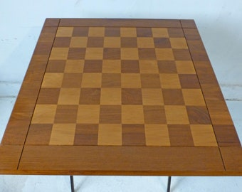 """Large vintage Drueke Walnut Maple Double Sided Chess Board 1950s 23"""" square 2.25"""" squares Gold Label  #64 Play A Way"""