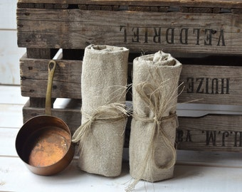 Naturel  linen tea towels French country, hostess gifts, shabby chic kitchen, torchon, eco friendly,