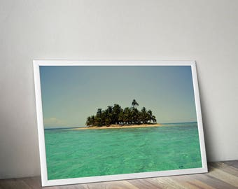 Desert Island Print, Shipwrecked on, Sandy Beach Modern Wall Art, Digital Download, Bedroom Decor, Palm Tree Island Photo, Turquoise Ble Sea