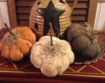 Primitive Set of 3 Pumpkins, Handmade Fabric Fall Pumpkins, Various Colors