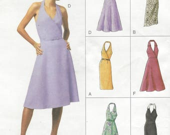Womens Halter Dress with Neckline and Skirt Variations Slim or Flared OOP Vogue Sewing Pattern 7709 Size 8 10 12 Bust 31 1/2 to 34 UnCut