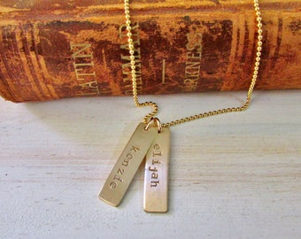 Vertical Name Bar Necklace ..Gold Bar Necklace... Hand Stamped Jewelry...Gold Jewelry .. Stamped Necklace .. Mother's Necklace
