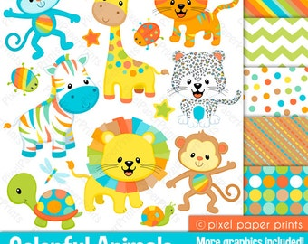 Colorful Animals Clipart - Clip Art and Digital paper set