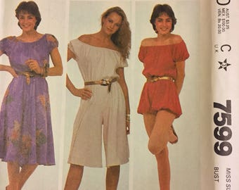 Vintage 1980's Dress and Jumpsuit Sewing Pattern  McCall's 7599 Misses' Size 14 Bust 36 Inches Complete Uncut