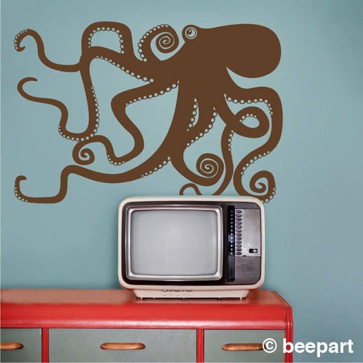 Octopus Wall Decal, Octopus Vinyl Sticker Art, Tentacles, Kraken Wall Art,  FREE SHIPPING