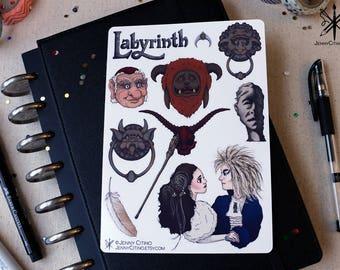 Labyrinth Inspired Sticker Sheet. Illustration, Fantasy, Planner, Journal, David Bowie, Masquerade, Jim Henson, 80's Rock