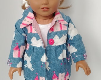 """Doll jacket. 18 inch doll clothing. Fits like American girl doll clothes. 18"""" doll clothes. Canvas Unicorn and castles coat"""