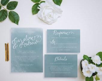 Blue Watercolor Wedding Invitation Bundle - Invitation, Response, and Details - Printable Customized