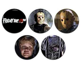 5x Friday The 13th 80s Horror Movie 25mm / 1 Inch D Pin Button Badges