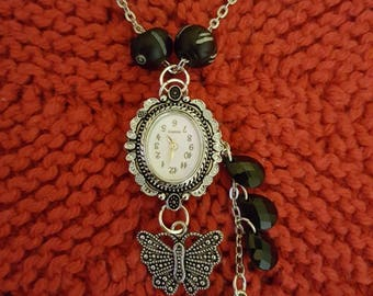 Butterfly and bee necklace watch
