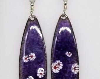 Handmade Enameled Earrings - Sterling Silver ear wires, Swarovski, Purple and Daisies