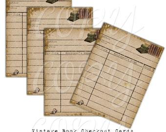 Vintage Book Checkout Cards -  Printable Digital Collage Sheet - Digital Download - Printable Ephemera