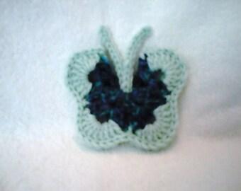 Magnet green crochet butterfly