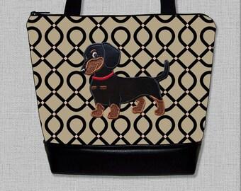 Dachshund Purse - Appliqued  Flirty Dachshund Handbag - Wiener Dog  - Purse - Shoulder Bag - Made to Order