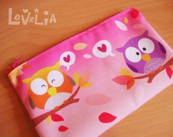 Pink Pencil case / Cosmetic bag RainbOWLS
