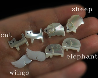 Tiny Ivory White Shell Post Studs - Bridesmaid Jewelry Shell Made Earrings - Cat / Sheep / Wings / Elephant - Gift Idea - Daily Wear