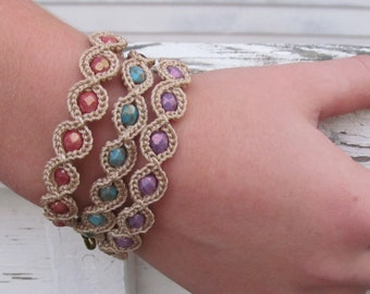 Crochet Friendship Bracelet - Purple Bracelet, Hippie Bohemian Jewelry