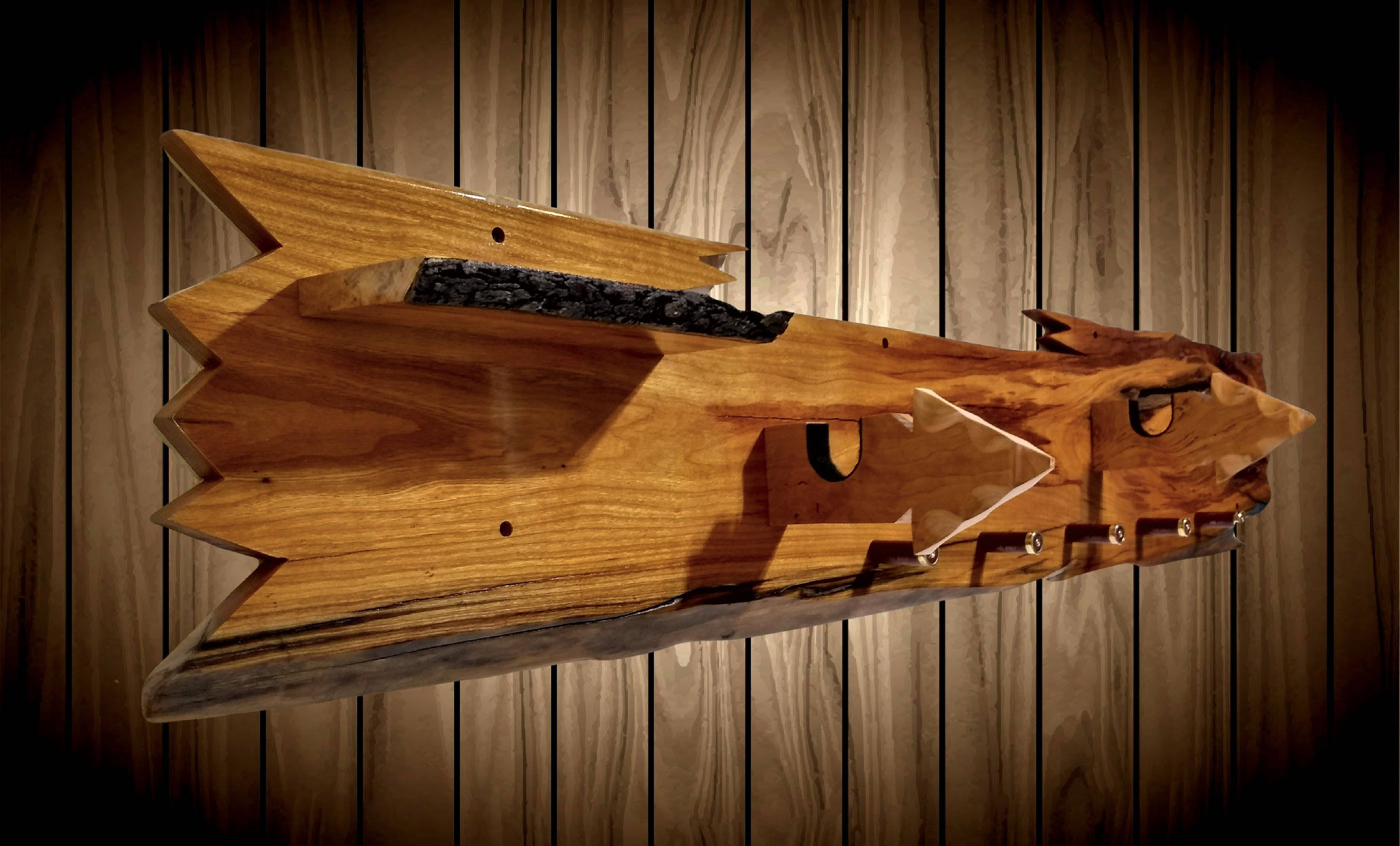 Rustic Live Edge Cherry Gun Rack Wall Mount Arrowhead