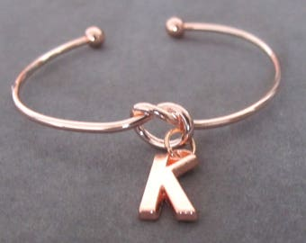 Rose Gold Bangle,Rose Gold Initial Bracelet,Bracelet, Monogram Bracelet, Rose Gold Tie the Knot Bangle,Bridesmaid Gift Free Shipping In USA