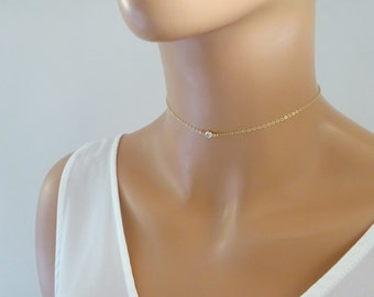 Simple CZ Choker Necklace, Chain Choker, Dainty Choker in 14kt Gold Filled, Rose gold fill, Sterling silver, Tattoo necklace