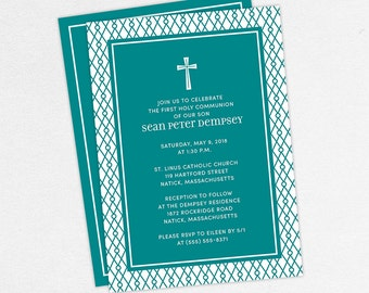 First Communion Invitation, First Holy Communion Invitation, Religious, Printed, PDF, DIY Communion Invitation, Boy Invitation, Teal, Sean