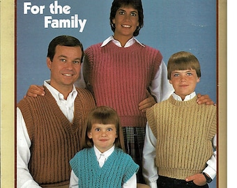 Elle family knit shaker stitch vests for the family to knit pattern book leisure arts leaflet 390 fandeluxe Choice Image