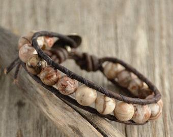 Earthy stone bead jewelry. Beaded single wrap bracelet