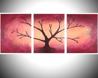 red wood tree of life bird art landscape painting canvas wall nursery decor pop contemporary cute triptych 4x a4 or a3 high quality prints