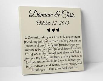 Wedding Gift, Wedding Vows on Canvas, Valentines Day Gift