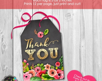 Instant Download Gold Floral Chalkboard Thank You Tags