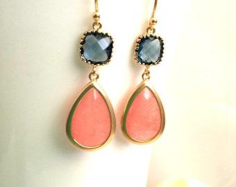 Coral Pink Gold earrings, Pink Wedding Earrings, Drop, Dangle earrings, NAVY EARRINGS, Gemstone,Wedding jewelry, Bridesmaid Gift