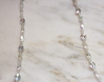 Vintage Czech crystal aurora borealis glass necklace with gold filled clasp
