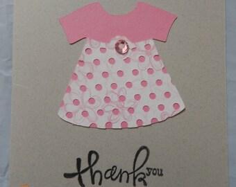 6 Handmade Baby Girl Thank You Cards