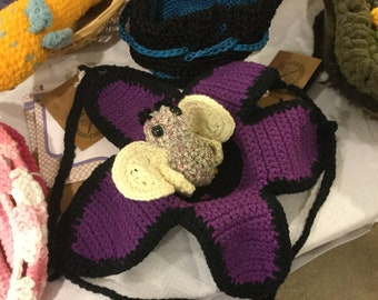 Violet Crochet Bag with Butterfly