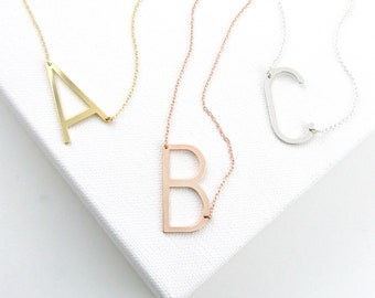 Large Initial Necklace Gold Initial Necklace Mothers Day Big Oversized Rose Gold Alphabet Necklace Personalized Jewelry Birthday Gift