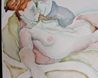"Fine Art, Original Painting in Watercolor:  Nude, ""Relaxing WithTea"", Pastel Colors"