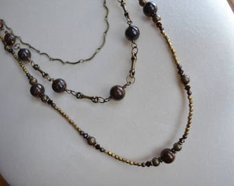 Bronzite and Antique Brass Triple Strand Long Necklace
