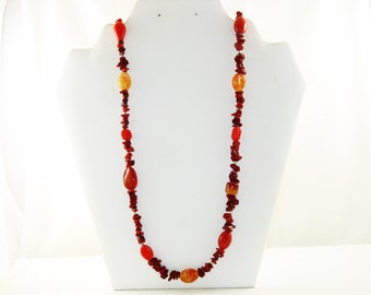 Vintage Red Coral and Art Glass Necklace (N-2-4)