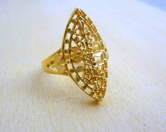 Gold Filled ring handmade jewelry ,floral ring ,gold lace ring