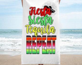 Fiesta Siesta Tequila Repeat Beach Towel