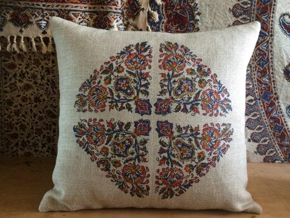 Hand block printed linen pillow | sofa cushion | farm house pillow | linen pillow | modern red pillow | case dresses|xmas for her | pillow