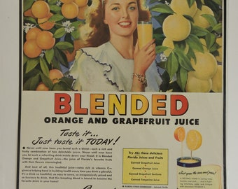 Print Advertisment Orange And Grape Fruit Juice