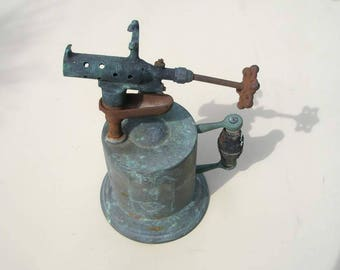 Vintage  brass blowtorch with nice green patina