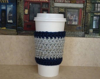 Navy Blue and Gray Cup Sleeve, Crochet Cup Sleeve, Crochet Cup Cozy, Cup Cozy, Reusable Cup Sleeve, Coffee Lover Gift, Tea Cozy,