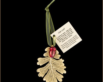 Real 24k Gold Oak With Iridescent Copper Acorn Double Ornamemnts with Ribbon and Hang Tag - Christmas Ornaments