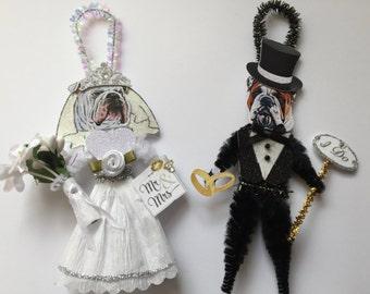 Bulldog BRIDE & GROOM ornaments Wedding Dog ornaments vintage style chenille ORNAMENTS set of 2
